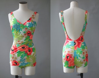 Pavot swimsuit | Floral one piece | 1960's by cubevintage | small to medium