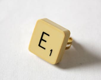 Scrabble letter E gold or silver ring