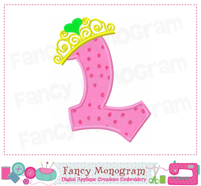 Monogram L with Pincess crown appliqueBirthday Letter L