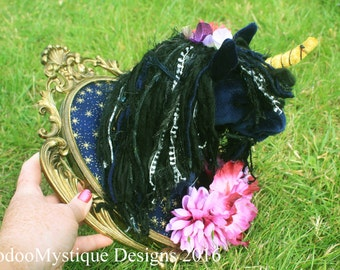 Unicorn faux taxidermy head art doll floral blue pink midnight textile sculpture fantasy shabby chic faerie fairy horse festival wall art