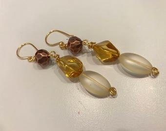 Boho style amber and copper dangle earrings