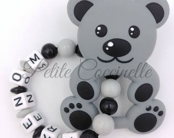 Bear, grey and black teething rattle