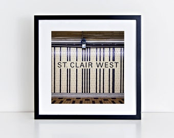 Toronto Subway St Clair West Station Square Wall Art - Subway Sign Decor - Made in Canada Toronto Photography - Fits IKEA Ribba Frames