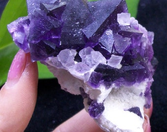 135g Great color - Pink Cubic Fluorite on Octahedron Purple Fluorite 2813 China
