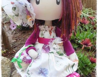 Flor, muñeca soft, textile doll, muñeca de tela, soft doll, mimizuku art, decorative doll, hand made doll, tilda doll, doll, flowers doll