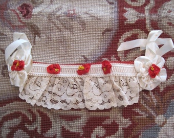 Vintage New Old Stock Bridal Garter Belt Ivory and Red Satin and Lace