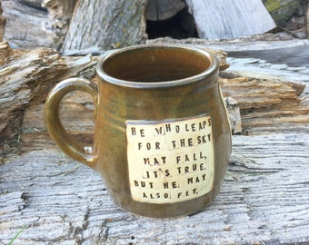 Large Pottery Mug-He Who Leaps-Delirium- Lauren Oliver- Brown with Ginkgo Leaves-Handmade by Daisy Friesen