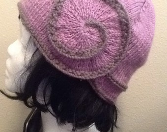 Gray and Lilac Swirl Hat