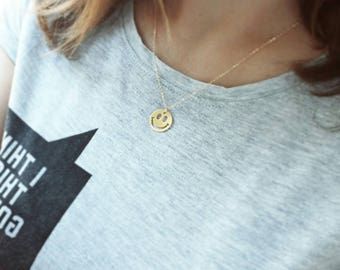 SMILEY COIN gold filled necklace
