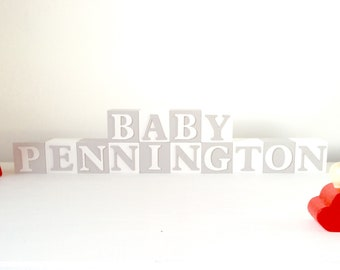 Newborn Photoprop, Unique Custom Baby Shower Gift, Nursery Wooden Blocks, Child Wooden Blocks, Baby Bedroom Name, Modern Nursery Decor