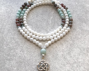 Celtic Mala Necklace Mother of Pearl with Amazonite & Garnet - 6mm Beaded Necklace - Item # 730
