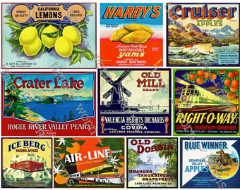 Kitchen Decor, Fruit Crate Label, Kitchen Wall Art, Vegetable Sign, Garden Art, Farm Market Vegetable Labels, Patio Decor, PRINTED SHEET 10c