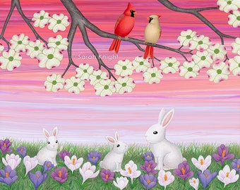 cardinals, dogwood blossoms, bunnies, & crocuses - signed art print 8X10 inch by Sarah Knight, birds white rabbit flowers spring colorful