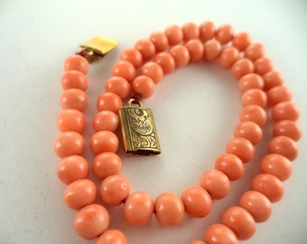 Antique Coral Bead Child's Necklace Victorian Children's Jewelry