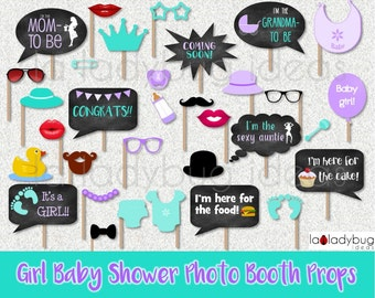 Girl baby shower photo booth props. Purple and turquoise.  Printable. DIY baby shower. Instant download. PDF Digital file. High resolution.
