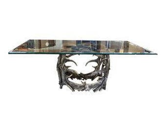 Glass Top & Antler Base Dining Table