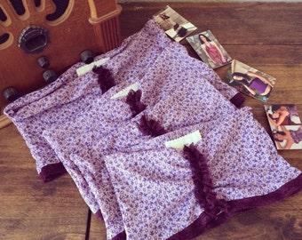 Sunbathing Bra - Purple Floral Bandeau - Stretchy Comfy Summertime Fun - Sheer - Extra Small Medium - SUPER FINAL SALE !!!