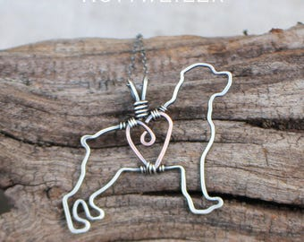 Rottweiler Necklace, Silver Dog, Dog Outline, Wire Jewelry