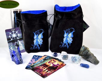 NEW*** Azure Faerie - All Natural Cotton Velvet and Silk Tarot, Oracle, or Crystal bag