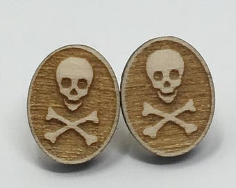 Skull and Crossbones stud earrings. Halloween. Wooden Laser Cut
