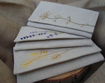 Rustic wedding clutch,wheat clutch, lavender clutch, Queen Anne's Lace  clutch , linen clutch, yellow clutch, blue clutch, green clutch