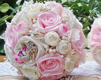 Pink silk rose Bouquet, Pearl ,Baby pink/cream/ivory custom