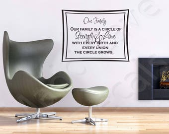 Our Family Circle Of Strength Home Vinyl Wall Decal Quote Art