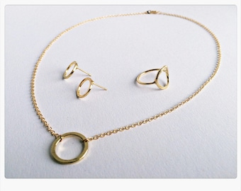 Schmuck Set GOLD, Karma: Kette, Ring, Ohrringe