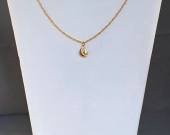 Moon and Star Necklace, Moon and Star Necklace Gold, Moon and Star Necklace Pendants, Moon and Back Necklace
