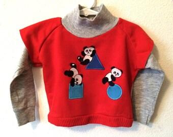 Vintage Toddler Boy's 80's Carters Sweatshirt, Red, Grey, Panda Bear, Long Sleeve (24 mos)