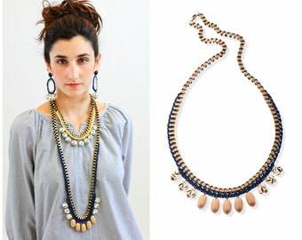 Long Ethnic Necklace Oversize Statement Jewelry Blue and Cream Tribal Necklace Extra Long Necklace