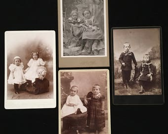 Set of Cabinet Cards of Siblings, Four (4) Cabinet Card Photos of Cute Kids, 19th Century Antique Photographs