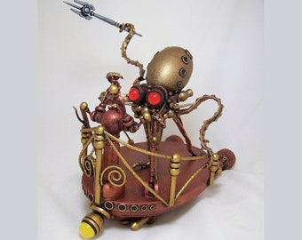 Steampunk Octopus Chariot Tentacles Wood Victorian Vehicle with Goggles and Trident