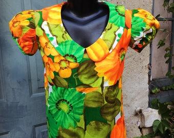 Vintage 70s Bright Orange Green Yellow Red Empire Waist Floral Maxi Dress  small medium