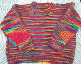 Gorgeous Multicoloured Patterned Jumper /  Sweater Hand Knitted for a Girl Aged around 2 to 3 years.
