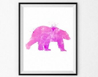 Pink Nursery Art Print - Bear Nursery Watercolor Painting - Girl's Room - Children's Art - Nursery Canvas - Nursery Painting