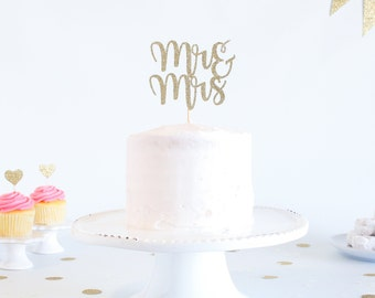 Mr & Mrs Cake Topper - Glitter - Wedding Cake Topper. Engagement Party. Mr and Mrs. Mr and Mrs Cake Topper. Cake Toppers for Wedding.