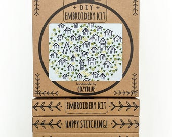 IT TAKES A VILLAGE embroidery kit - embroidery hoop art,  village, little tiny houses, stitched houses, home sweet home, housewarming, diy