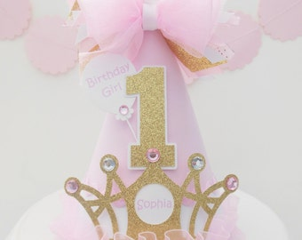 Pink, White and Glitter Gold Crown - Princess Birthday Party Hat - Personalized