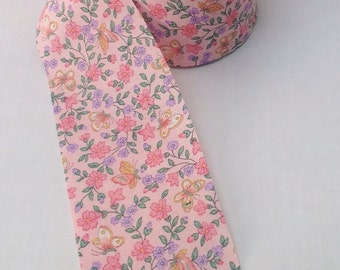 Vintage pink floral flowers butterfly ribbon. Sewing. Notions. Vintage ribbon. 1 yard. Crafting. Sewing.