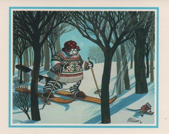 Kliban Cat Skiing with Mouse, Christmas Card, Used, good shape, Vintage, 1986