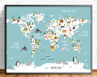 Nusery world mapenglish animal world map 4 sizes nusery world map french animal world map 5 sizes includedmapamundi print gumiabroncs Gallery