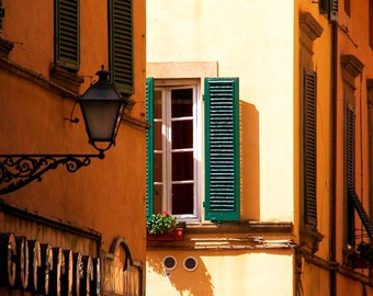 Travel Photography- Burnt Siena in Tuscany- Italian, Architectural, Tuscan, Window, Lantern, Lucca, Italy,  Fine Art Photography