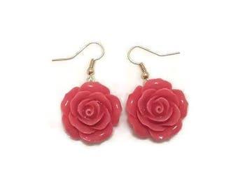 Rose Flower Earrings - Rose Dangle Earrings - Pink Rose Earrings - Pink Flower Earrings - Flower Dangle Earrings - Large Flower Earrings