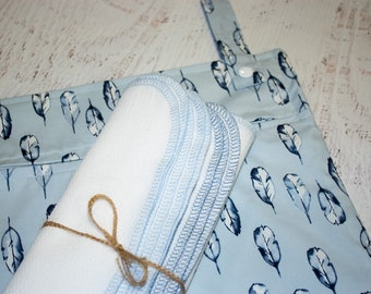 Eco friendly kitchen starter set in blue feathers -  organic cotton hanging wetbag and paperless / unpaper towels