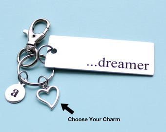 Personalized Dreamer Key Chain Stainless Steel Customized with Your Charm & Initial - K391