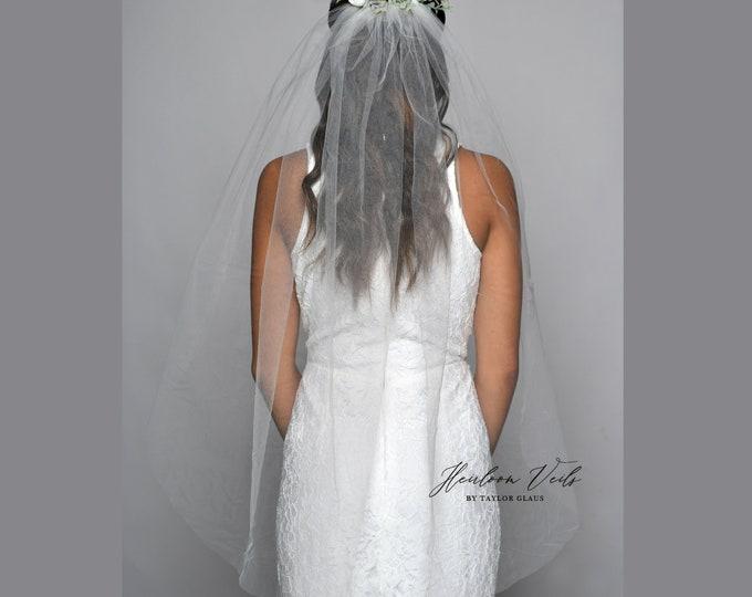 Floral BOHO Wedding Veil, Flower Wedding Veil, Multiple Lengths and Colors, Customized Wedding Veil SC-03