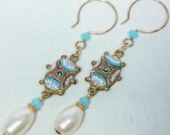 Micro Mosaic Chalcedony Earrings, Genuine Fresh Water Pearls, 14K Gold Filled, Grand Tour, Italian Souvenir Jewelry