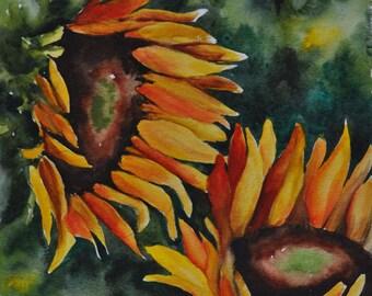 Sunflowers Original Watercolor Painting