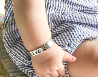 your words cuffs - custom hand stamped pewter bracelet - personalized - design your own - customized - baby bracelet - infant bracelet